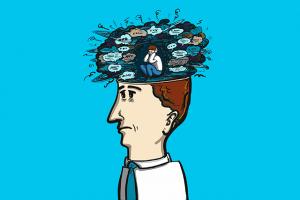 Man with self talk bubbles 300x200 - گفتگوهای درونی